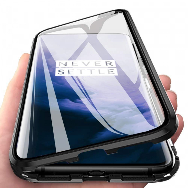Husa OnePlus 7 Pro Magnetic Glass 360 (sticla fata + spate), Negru 2