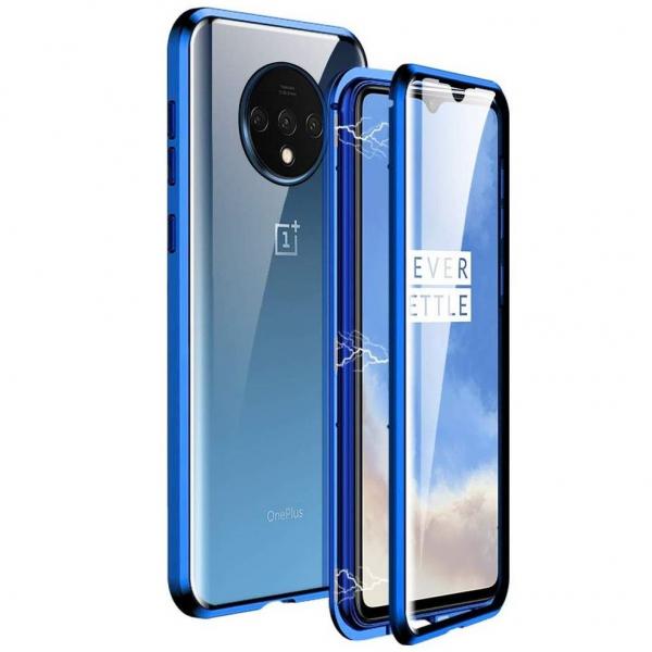 Husa OnePlus 7T Magnetic Glass 360 (sticla fata + spate), Albastru 0