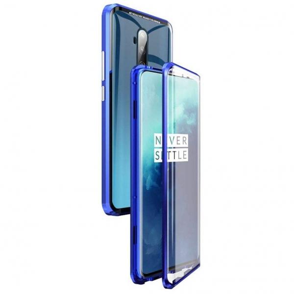 Husa OnePlus 7T Pro Magnetic Glass 360 (sticla fata + spate), Albastru 0