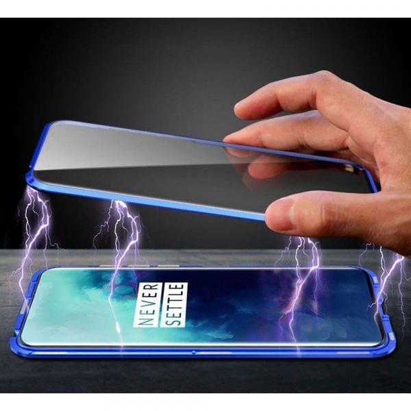 Husa OnePlus 7T Pro Magnetic Glass 360 (sticla fata + spate), Albastru 1