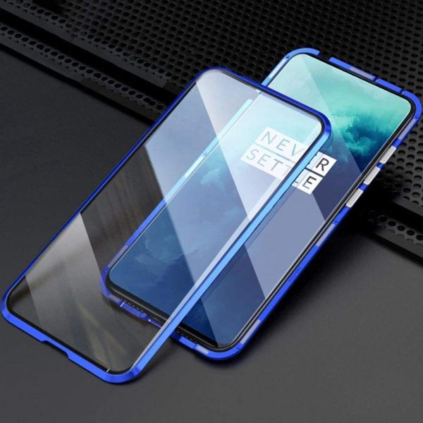 Husa OnePlus 7T Pro Magnetic Glass 360 (sticla fata + spate), Albastru 2