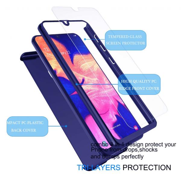 Husa Samsung Galaxy A20 Full Cover 360 + folie sticla, Albastru 1
