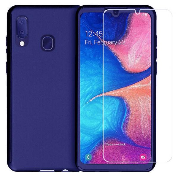 Husa Samsung Galaxy A20 Full Cover 360 + folie sticla, Albastru 0
