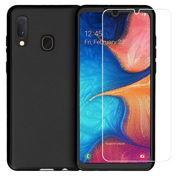 Husa Samsung Galaxy A20 Full Cover 360 + folie sticla, Negru 0