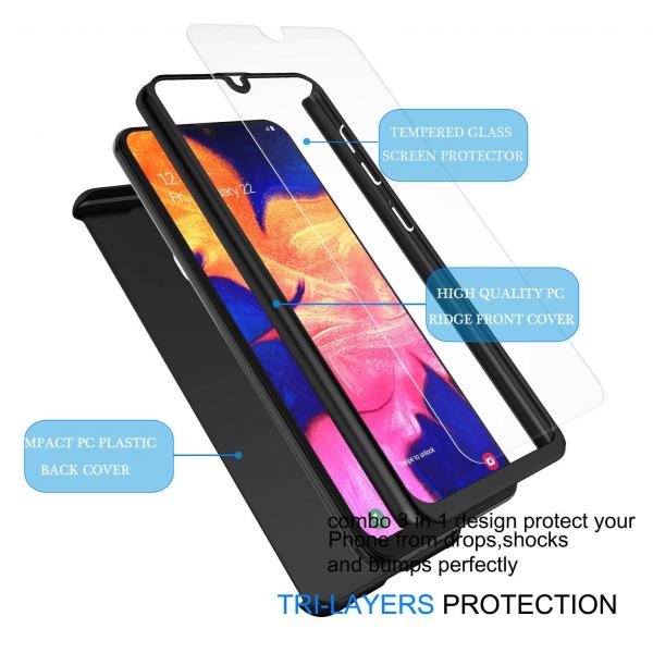 Husa Samsung Galaxy A20 Full Cover 360 + folie sticla, Negru 1