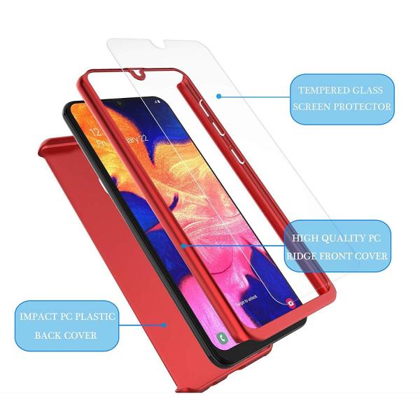 Husa Samsung Galaxy A20 Full Cover 360 + folie sticla, Red 3