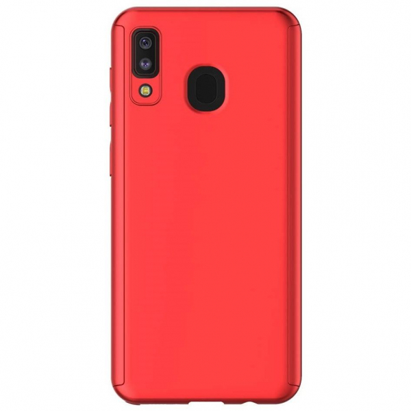 Husa Samsung Galaxy A20 Full Cover 360 + folie sticla, Red 1