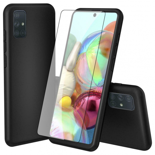 Husa Samsung Galaxy A71 Full Cover 360 + folie sticla, Negru 1