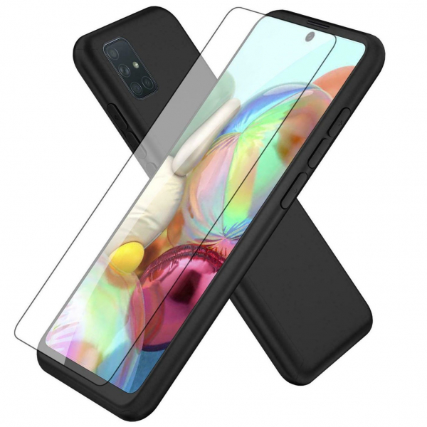 Husa Samsung Galaxy A71 Full Cover 360 + folie sticla, Negru 2