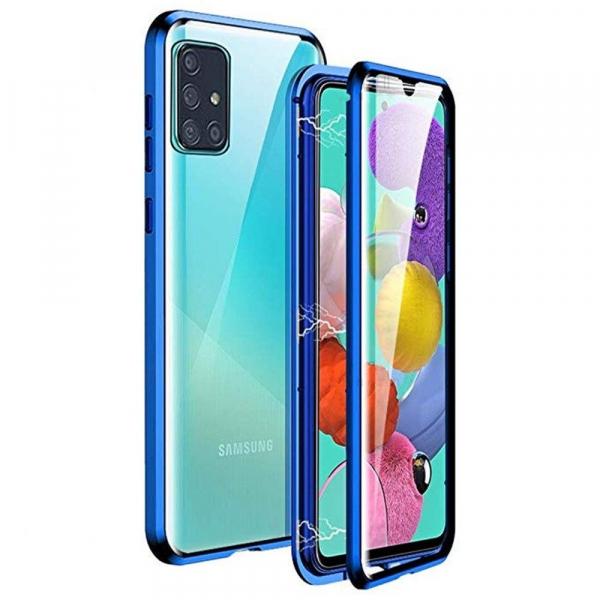 Husa Samsung Galaxy A51 Magnetic Glass 360 (sticla fata + spate), Albastru 0