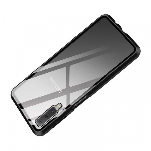 Husa Samsung Galaxy A7 (2018) Magnetic Glass 360 (sticla fata + spate), Negru 2