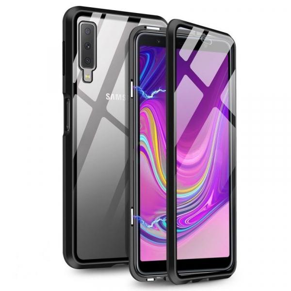 Husa Samsung Galaxy A7 (2018) Magnetic Glass 360 (sticla fata + spate), Negru 0