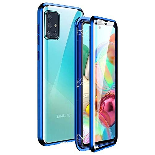Husa Samsung Galaxy A71 Magnetic Glass 360 (sticla fata + spate), Albastru 0