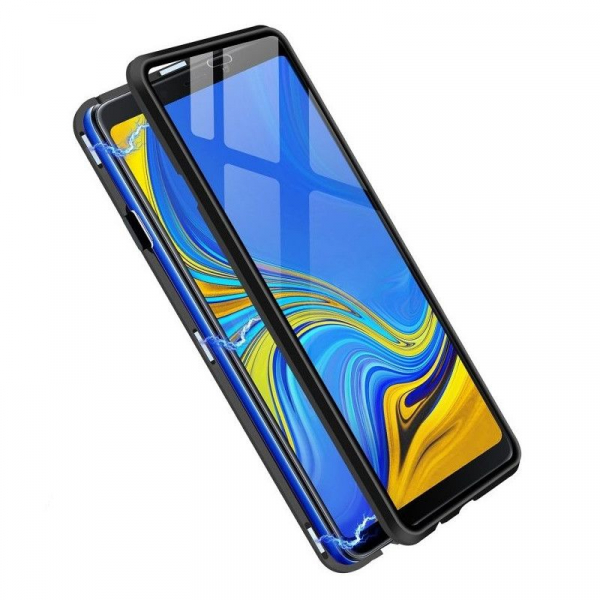 Husa Samsung Galaxy A9 (2018) Magnetic Glass 360 (sticla fata + spate), Negru 2