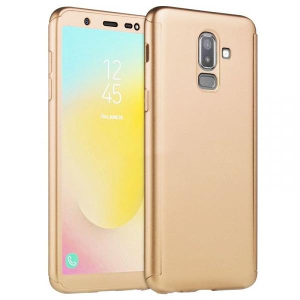 Husa Samsung Galaxy J8 (2018) Full Cover 360 + folie sticla, Gold 0