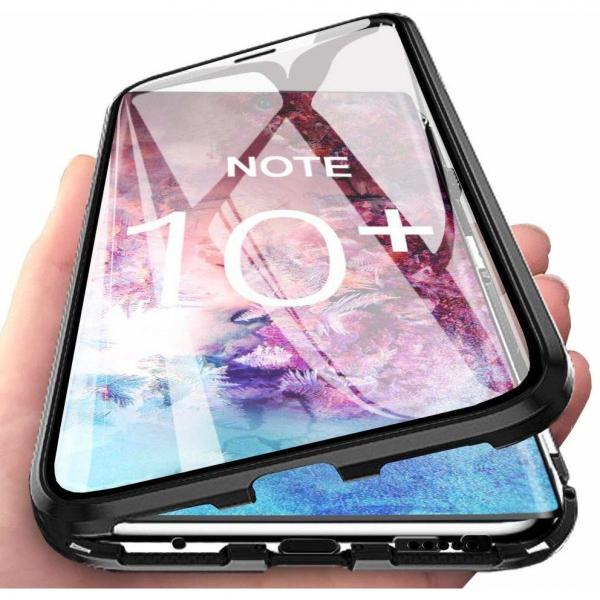 Husa Samsung Galaxy Note 10 Plus Magnetic Glass 360 (sticla fata + spate), Negru 2
