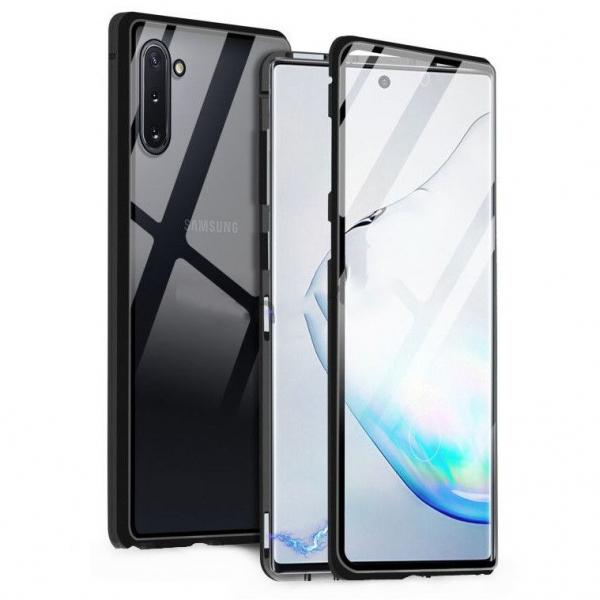 Husa Samsung Galaxy Note 10 Plus Magnetic Glass 360 (sticla fata + spate), Negru 0