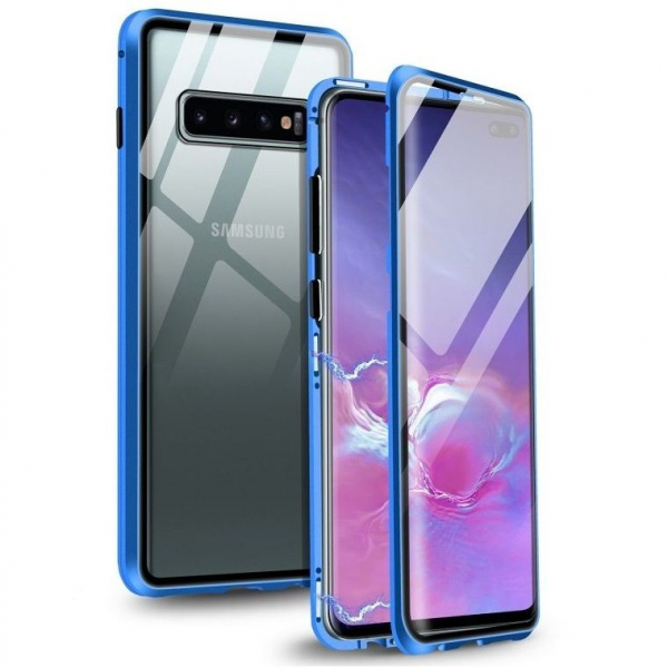 Husa Samsung Galaxy S10 Magnetic Glass 360 (sticla fata + spate), Albastru 0