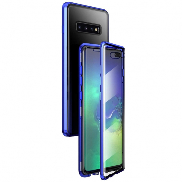Husa Samsung Galaxy S10+ Magnetic Glass 360 (sticla fata + spate), Albastru 3