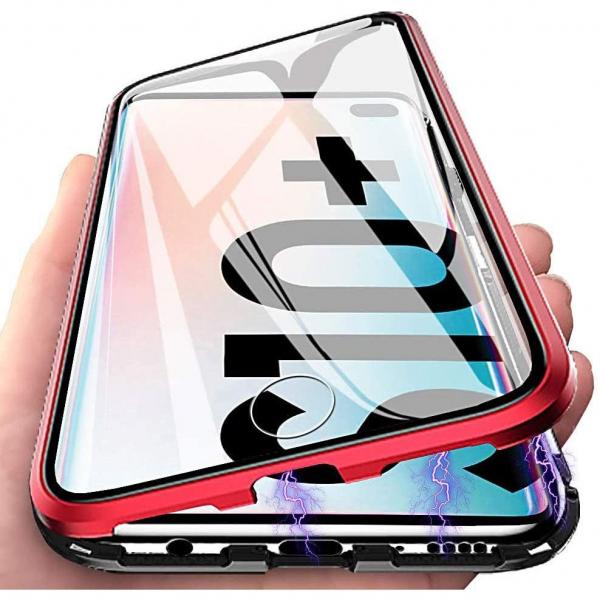 Husa Samsung Galaxy S10+ Magnetic Glass 360 (sticla fata + spate), Red 1