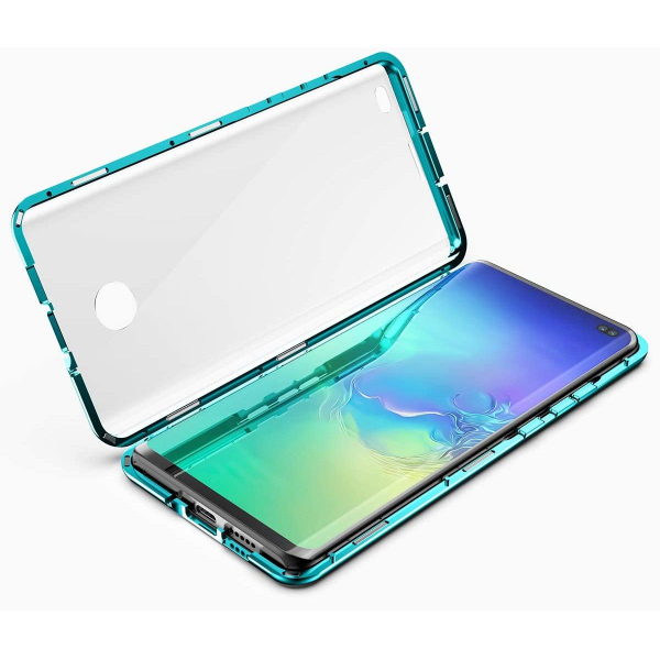 Husa Samsung Galaxy S10+ Magnetic Glass 360 (sticla fata + spate), Verde 2