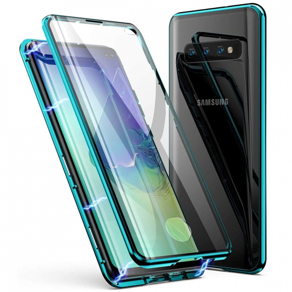 Husa Samsung Galaxy S10+ Magnetic Glass 360 (sticla fata + spate), Verde 0