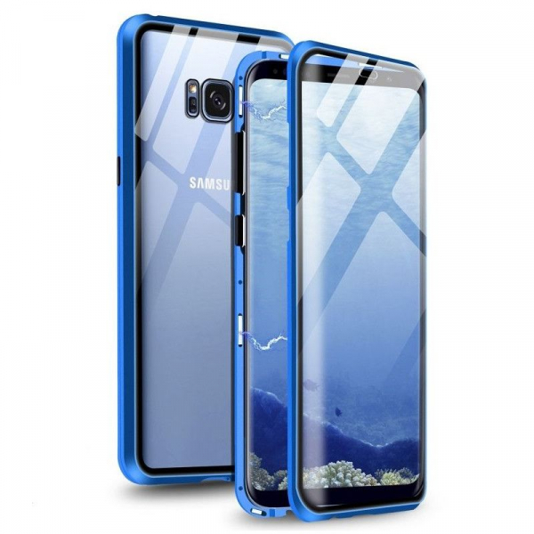 Husa Samsung Galaxy S8 Magnetic Glass 360 (sticla fata + spate), Albastru 0