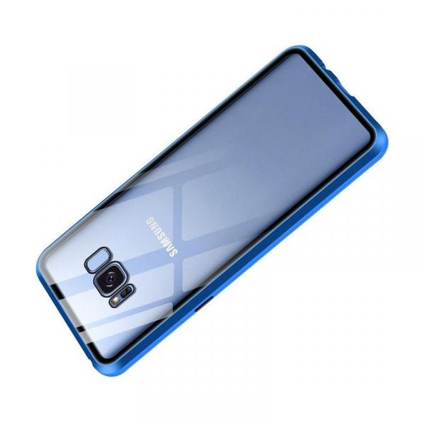 Husa Samsung Galaxy S8 Magnetic Glass 360 (sticla fata + spate), Albastru 2