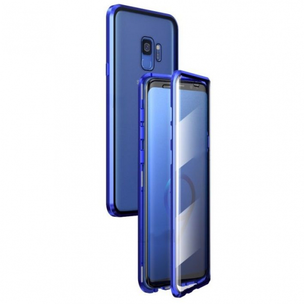Husa Samsung Galaxy S9 Magnetic Glass 360 (sticla fata + spate), Albastru 0