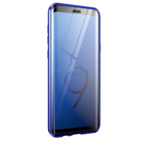 Husa Samsung Galaxy S9 Plus Magnetic Glass 360 (sticla fata + spate), Albastru 2