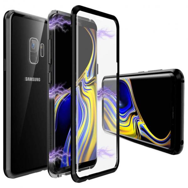 Husa Samsung Galaxy S9 Plus Magnetic Glass 360 (sticla fata + spate), Negru 0