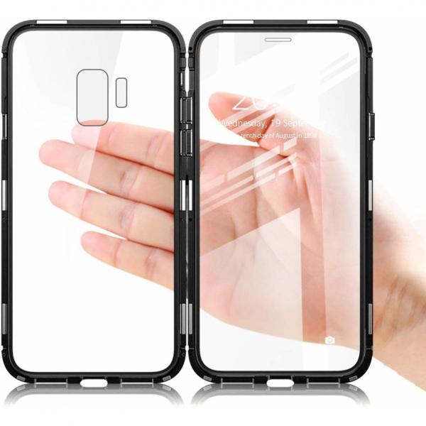 Husa Samsung Galaxy S9 Plus Magnetic Glass 360 (sticla fata + spate), Negru 2