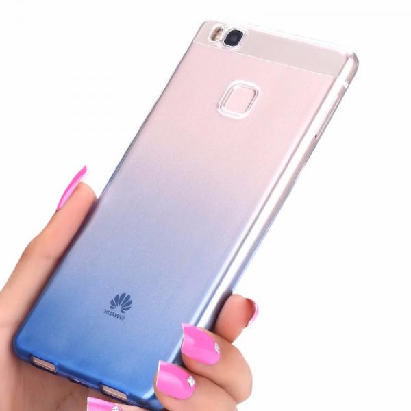 Husa TPU Gradient pentru Huawei P9, Albastru / Transparent 2