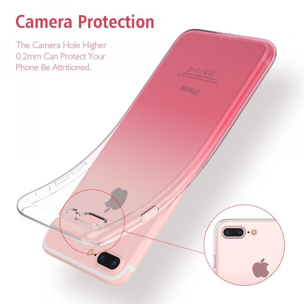 Husa TPU Gradient pentru iPhone 8 Plus, Roz / Transparent 2