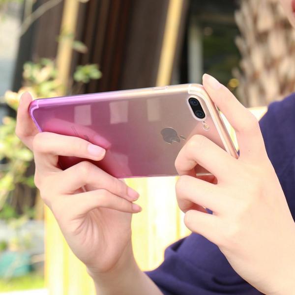 Husa TPU Gradient pentru iPhone 8 Plus, Roz / Transparent 3