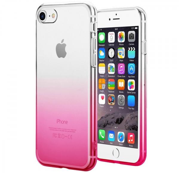 Husa TPU Gradient pentru iPhone 8, Roz / Transparent