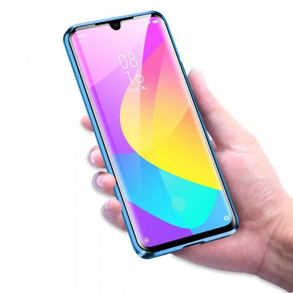 Husa Xiaomi Mi 9 Lite Magnetic Glass 360 (sticla fata + spate), Albastru 2