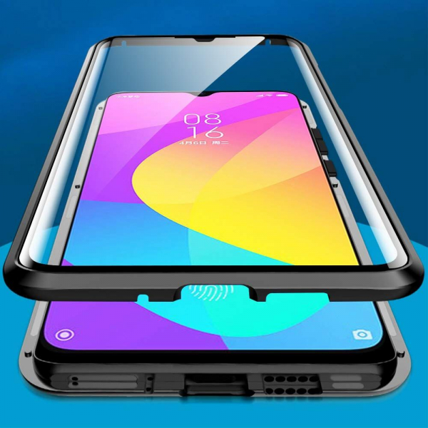 Husa Xiaomi Mi 9 Lite Magnetic Glass 360 (sticla fata + spate), Negru [1]