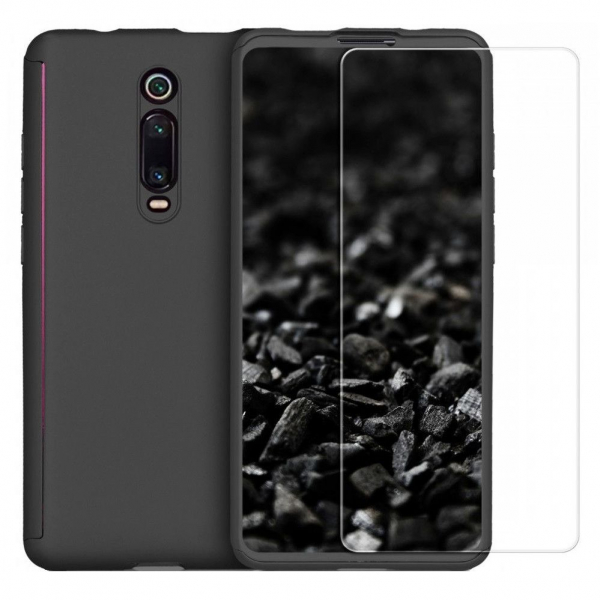 Husa Xiaomi Mi 9T Full Cover 360 + folie sticla, Negru 0