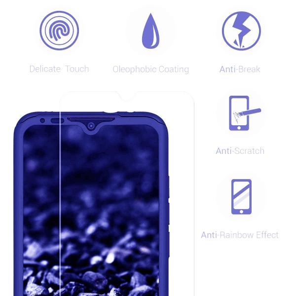 Husa Xiaomi Mi A3 Full Cover 360 + folie sticla, Albastru 2