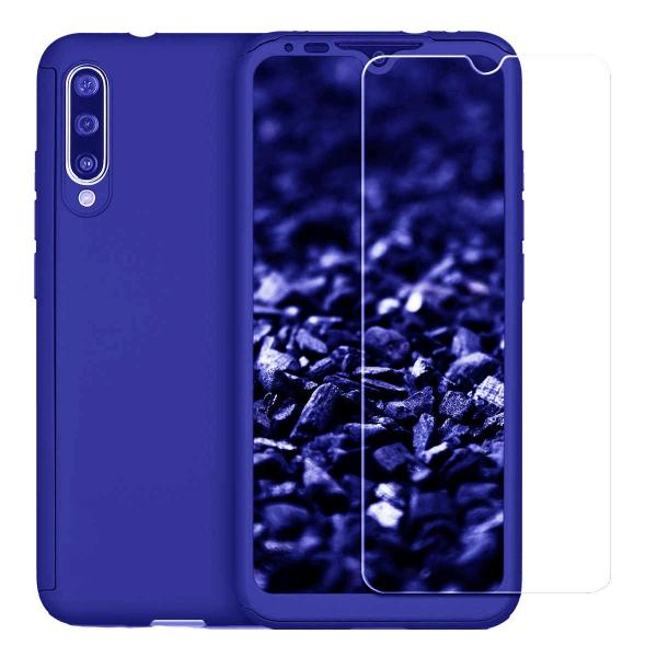 Husa Xiaomi Mi A3 Full Cover 360 + folie sticla, Albastru [0]