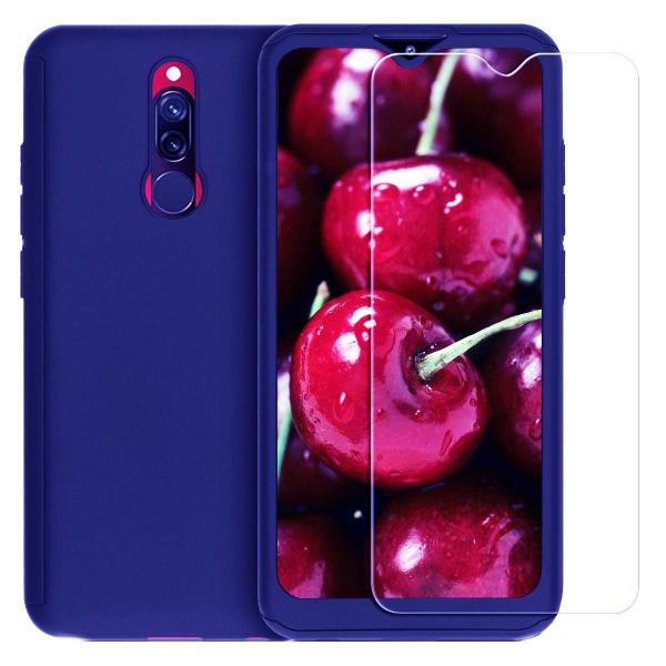 Husa Xiaomi Redmi 8 Full Cover 360 + folie sticla, Albastru 0