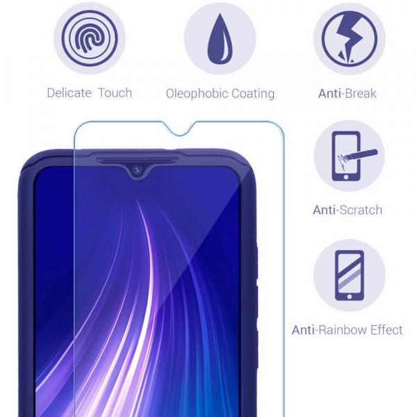 Husa Xiaomi Redmi Note 8 Full Cover 360 + folie sticla, Albastru 2