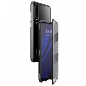 Husa 360 Magnetic Glass (sticla fata + spate) pentru Huawei P30, Negru0