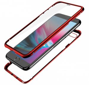 Husa 360 Magnetic Glass (sticla fata + spate) pentru iPhone 8 Plus, Red [1]