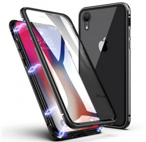 Husa 360 Magnetic Glass (sticla fata + spate) pentru iPhone XR, Negru [0]