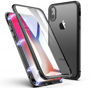 Husa 360 Magnetic Glass (sticla fata + spate) pentru iPhone XS, Negru0