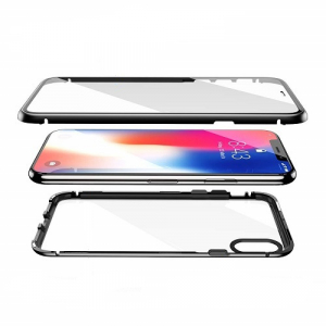 Husa 360 Magnetic Glass (sticla fata + spate) pentru iPhone XS, Negru1