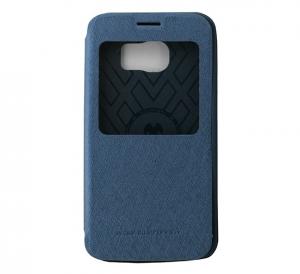 Husa Book View Mercury Goospery Wow Samsung Galaxy S6 Edge, Albastru0