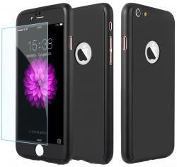 Husa Full Cover 360 (fata + spate + geam sticla) pentru Apple iPhone 7, Negru0